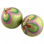 Коледни топки с цветна декорация