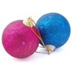 Разноцветни коледни топки с брокат