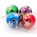 Разноцветни коледни топки със звезди