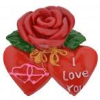 Магнитна фигурка - роза със сърца