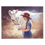 Картина по номера - Момиче с кон, 40х50см