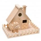 Дървена къщичка за украса