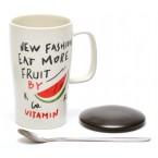 Чаша декорирана с послание и плодче