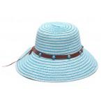 Лятна шапка със сини топчета