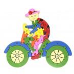 Пъзел от дърво - калинка на колело