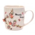 Керамична чаша - цветя