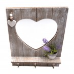 Дървена закачалка с огледало - сърце