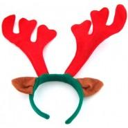 Зелена коледна диадема с червени еленови рога и кафяви уши.