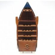Поставка за вино - дървена лодка
