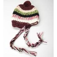 Детска плетена зимна шапка с връзки и пискюл - снимка 1.