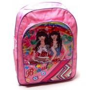 Розова раница с цветен принт - две момичета