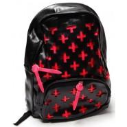 Черна раница с розови кръстчета