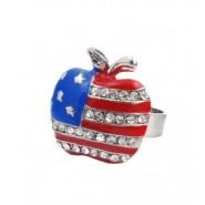 Пръстен - ябълка с американския трикольор