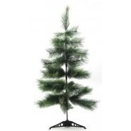 Красива изкуствена коледна елха със зелени клонки и поставка.