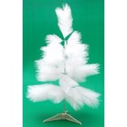Изкуствена бяла коледна елха с поставка.
