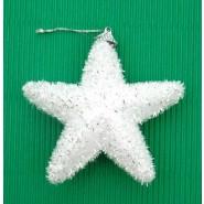 Бяла коледна звезда от стиропор за декорация на елха.