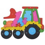 Дървен пъзел - трактор