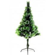 Зелена коледна елха покрита с изкуствен сняг, с метални крачета.