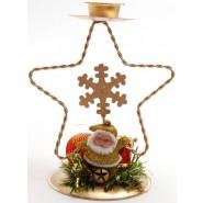 Коледен свещник с фигура на звезда, украсен с фигурка на Дядо Коледа, барабанче и коледна топка - 1-ва снимка.