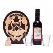Дървена бъклица с вино - Честит имен ден