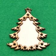 Дървена украса за елха - 10 броя