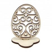 Дървено яйце на поставка - 6 бр