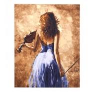 Картина по номера - Момиче с цигулка, 40х50см