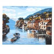 Рисуване по номера - Лодки в пристанището, 40х50см