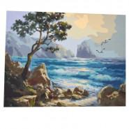 Рисуване по номера - Дърво на скалист бряг, 40х50см