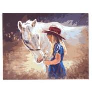 Рисуване по номера - Момиче с кон, 40х50см