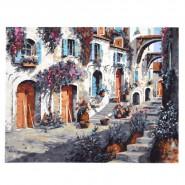 Картина по номера - Улица с цветя, 40х50см