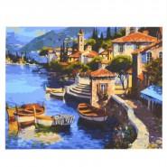 Картина по номера - Пристанище с лодки, 40х50см