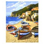Картина по номера - Лодки на брега, 40х50см