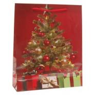 Подаръчна коледна торбичка с изображение на елха.