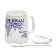 Керамична чаша с картата на света