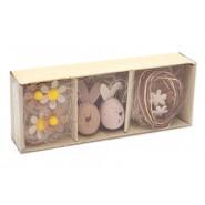 Великденски комплект - яйца, слама и изкуствени цветя