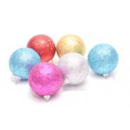 Коледни топки с брокат - 6 бр.