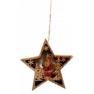 Светеща дървена звезда за окачване