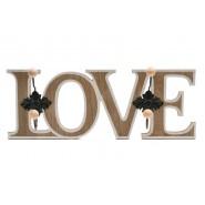 Дървена закачалка - LOVE