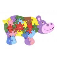 Дървен пъзел - хипопотам
