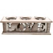 Дървен свещник - Love