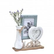 Поставка с 2 рамки за снимки и ваза