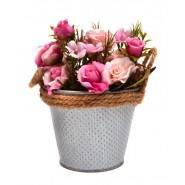 Изкуствено цвете в метална кофа