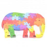 Пъзел от дърво - слон