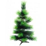 Изкуствено тъмнозелено коледно дръвче със светлозелелни върхове на клончетата.
