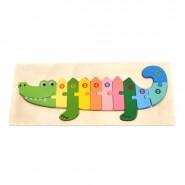 Дървен пъзел - крокодил